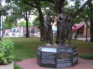 Tennessee Woman's Suffrage Memorial on Market Square.  Note GAP display in background.