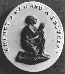 Medallion emphasizes the humanity of the Black slave.