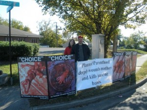 Choice signs outside Planned Parenthood abortion clinic.