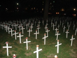 Crosses at Eastern Kentucky University feature an abortion photo on each cross.