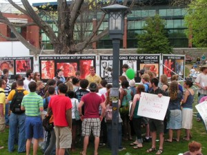 Pro-aborts draw huge crowds to GAP, including people who most need to see the signs.