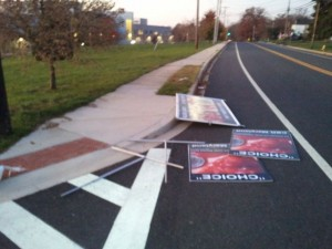 Pro-life signs thrown into the road at Aberdeen (Maryland) High School