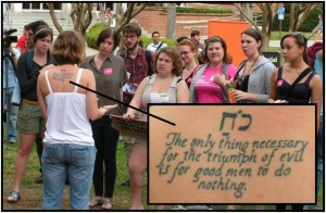 CBR's Sarah Cleveland speaks to group of FSU students with Edmund Burke on her back.