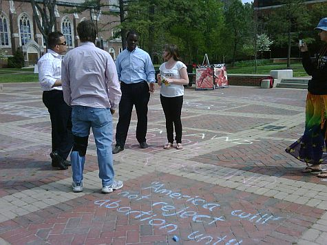 Jonathan Darnel awaits a ruling on whether he could continue chalking messages on the plaza.