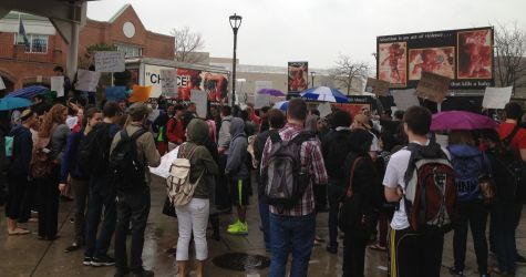 GAP display, Choice signs, and RCC truck makes abortion unavoidable at the U of Buffalo
