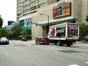 The Truth Truck made several rounds in front of the CNN News Center in Atlanta