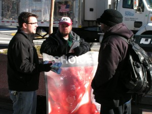 What does God think about this? CBR volunteers David Harbin and Todd Childers discuss with a passerby