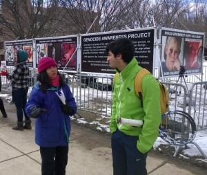 CBR Virginia Project Director Ruby Nicdao speaks with a student at George Mason University