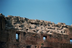 The Coliseum in Rome, from inside the walls