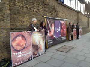 CBR UK displays abortion photos outside a BPAS abortion facility