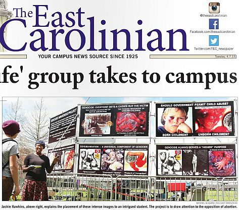 East Carolinian with abortion photos as seen, on page 1 and above the fold